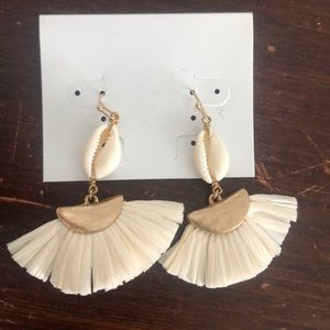 Off white tassel earrings with gold accents